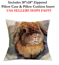 "18x18 18"" BUNNY RABBIT BUNNIE RABBIDS KITS Zipper Throw Pillow Case & Cushion"
