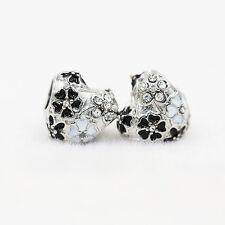 Fine CZ Black White Paint Love Charm Bead Fit European Charm Bracelet
