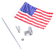 Motorcycle Rear Side Mount Flag Pole Flag American Fit for Harley Bobber Bmw Us