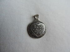Vintage 925 Sterling Silver Marcasite Heart Pendant Jewelry (kk445)