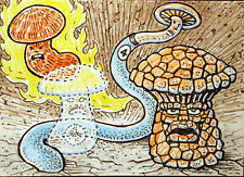 ACEO  Fantasy Original 4 Fantastic Mushrooms