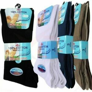 6 PAIRS MENS EXTRA WIDE FOOT LOOS TOP COTTON SOCKS FOR SWOLLEN FEET AND ANKLES