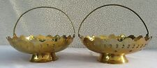 Lot of 2 Vintage Pierced Brass Baskets Flowers and Handles Candy Dish Bowls