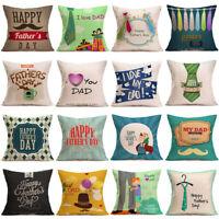 "18"" Father's Day Linen Pillow Case Sofa Waist Throw Cushion Cover Home Decor"