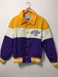 RARE Vintage Los Angeles LA Kings Bomber Jacket Mens Large Snap Purple Yellow