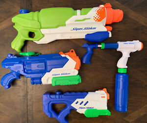 NERF Super Soaker Water Guns Toy Lot of 4 Tested See Description