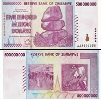 Zimbabwe 500 Million Dollars Banknote UNC AA/AB+ 2008 P-82 100 Trillion Series