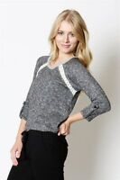 Women Casual Sweatshirt Sweater Blouse Top Shirt Casual 3/4 Sleeve Fitted Cute