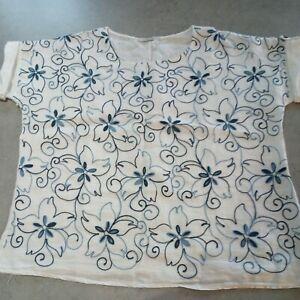 Viola Borghi Large Italian Linen Embroidered Blouse  size 14/16