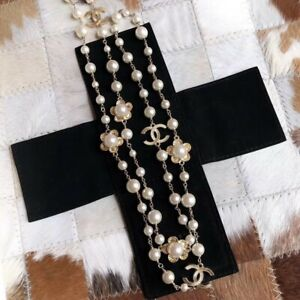 NIB 100%AUTH Chanel Classic White Pearl 3 Crystal CC Strand Necklace.