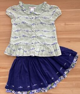 JANIE AND JACK Violet Meadows Floral Blouse & Skirt Set Size 18-24 Months/2T