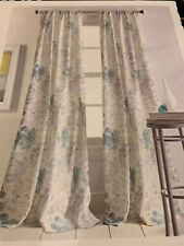 "DKNY Floral Fields Blue Teal Yellow Gray 84"" Rod Pocket Curtain Panels Pair"
