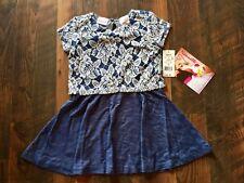 Size 3T blue NWT FLORAL PRINT LACE FAUX BLUE JEAN dress by NANNETTE