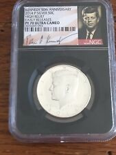 Kennedy 50th Anniv Ngc 2014 P Silver 50C High Relief Early Releases Pf 70 Uc