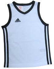 adidas Boys Sports Vest Y Commander J Basketball Jersey Ages 5 Years to 16 Years White/green 13-14 Years / 164cm