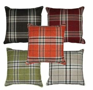 17 x 17 Inch Tartan Cushion Cover 45cm Square Double Side Print Woven Material