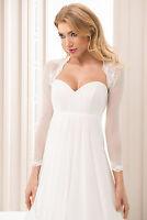 Women's Bridal Wedding White or Ivory Bolero Jacket Tulle with Lace B-117