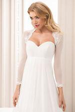 New Bridal Ivory / White Tulle & Lace Bolero Shrug Wedding Jacket  Size S M L XL