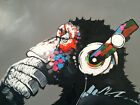 "Modern Abstract Art Monkey Chill DJ Headphones CANVAS PRINT poster 24""X36"""