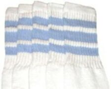 """25"""" KNEE HIGH WHITE tube socks with BABY BLUE stripes style 1 (25-16)"""