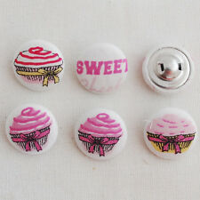 5 tissu boutons recouverts sweet cupcake gâteau rose - 2cm