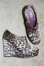 Madden Girl leopard print satin fabric wedge ankle boots/booties-sz 6-New