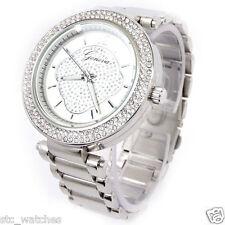 New Silver Brushed Bracelet 3D Geneva Crystal Bezel Women's Boyfriend Watch