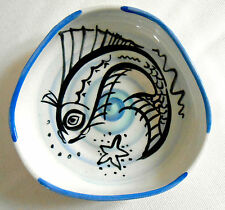 Peggy Foy England Studio Art Pottery blue white fish dish bowl signed 1950s vgc