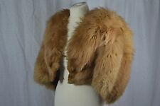 VINTAGE 1940s caramel brown FOX fur cape jacket cropped size 10-12