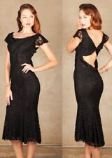 Stop Staring Vintage Inspired Noir Black Lace Genevieve Mermaid Wiggle Dress XL