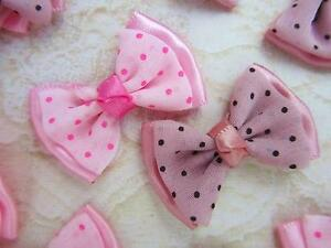 60 Chiffon Dots Satin Ribbon French Knot 2 Layer Bow F96-Pink/Mauve Choose Color