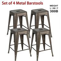 Set of 4 24 inch Vintage Metal Bar Stools Stackable Counter Height Barstools Gun