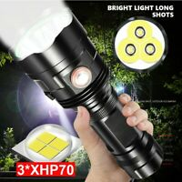 900000 Lumens LED Flashlight XLight XHP70 Most Powerful USB Zoom Torch 2*26650