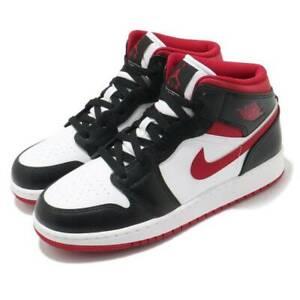 Nike Air Jordan 1 Mid GS White Gym Red Black GS 5Y / 6.5 Womens DJ4695-122