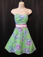 Lilly Pulitzer Strapless Dress Silk Cotton Lined Gemstone Trim Size 4