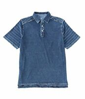 Men's SZ 2XL Tommy Bahama Polo Short Sleeve Shirt Riviera Indigo Blue striped