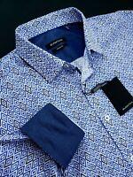 Bugatchi Classic Fit Geometric Diamond Print Royal Blue Sports Shirt Large $179