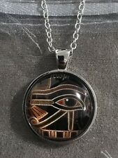 Vintage Eye Of Horus Ancient Egyptian Glass Dome Cabochon Pendant Necklace.