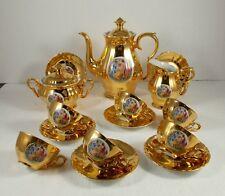 altes 17 tlg. Mokka oder Kaffeeservice, vergoldet mit antikem Dekor