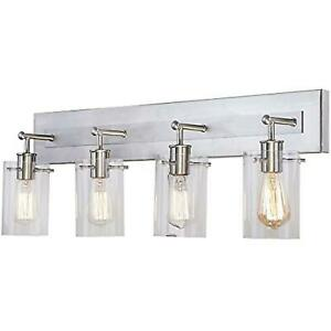 Regan 29.13 in. 4-Light Brushed Nickel Vanity Light with Clear Glass Shades
