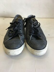 PRE OWNED Leather CONVERSE ALL*STAR SHOES Black Sz: Men's 8.Women's 10 UK8