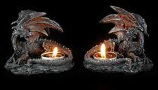 Teelichthalter Drachen - Liegend schwarz 2er Set - Figur Kerzenhalter Gothic