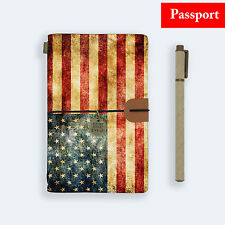 GENUINE LEATHER JOURNAL TRAVEL DIARY TRAVELERS PASSPORT SIZE AMERICA USA FLAG