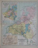 1911 Landkarte ~ Niederlande Politische Distribution Mittlere Alter Campaign Von