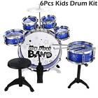 6-Piece Junior Jazz Drum Set with Brass Cymbals - Kid Cymbals Stool Sticks Drums