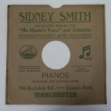 "78rpm 10"" card gramophone record sleeve / cover SIDNEY SMITH , MANCHESTER"