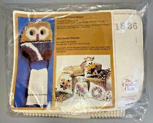 Vintage NIP 1981 The Creative Circle Owl Wall Towel Holder Latch Hook Kit #1836