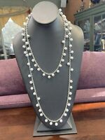 """Vintage Faux Milk Glass   Long Beaded Necklace Sweater Style 54"""""""