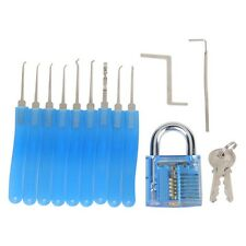 11 Piece Lock Pick Training Set Locksmith Training Tools w/ Cutaway Transparent