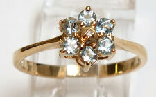 14K Yellow Gold Aquamarine=.25 ct. and diamond Flower ring - Size 6 1/2